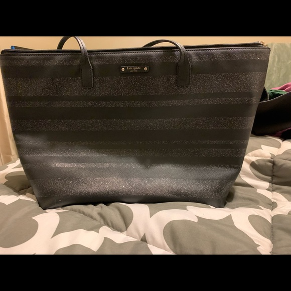 Black and silver Kate Spade Tote